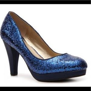 Royal blue glitter pumps
